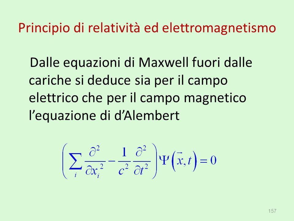 Principio di relatività ed elettromagnetismo Dalle equazioni di Maxwell fuori dalle cariche si deduce sia per il campo elettrico che per il campo magn