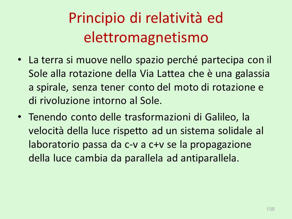 Principio di relatività ed elettromagnetismo La terra si muove nello spazio perché partecipa con il Sole alla rotazione della Via Lattea che è una gal