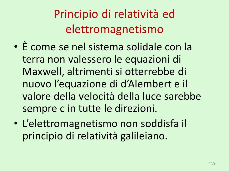Principio di relatività ed elettromagnetismo È come se nel sistema solidale con la terra non valessero le equazioni di Maxwell, altrimenti si otterreb