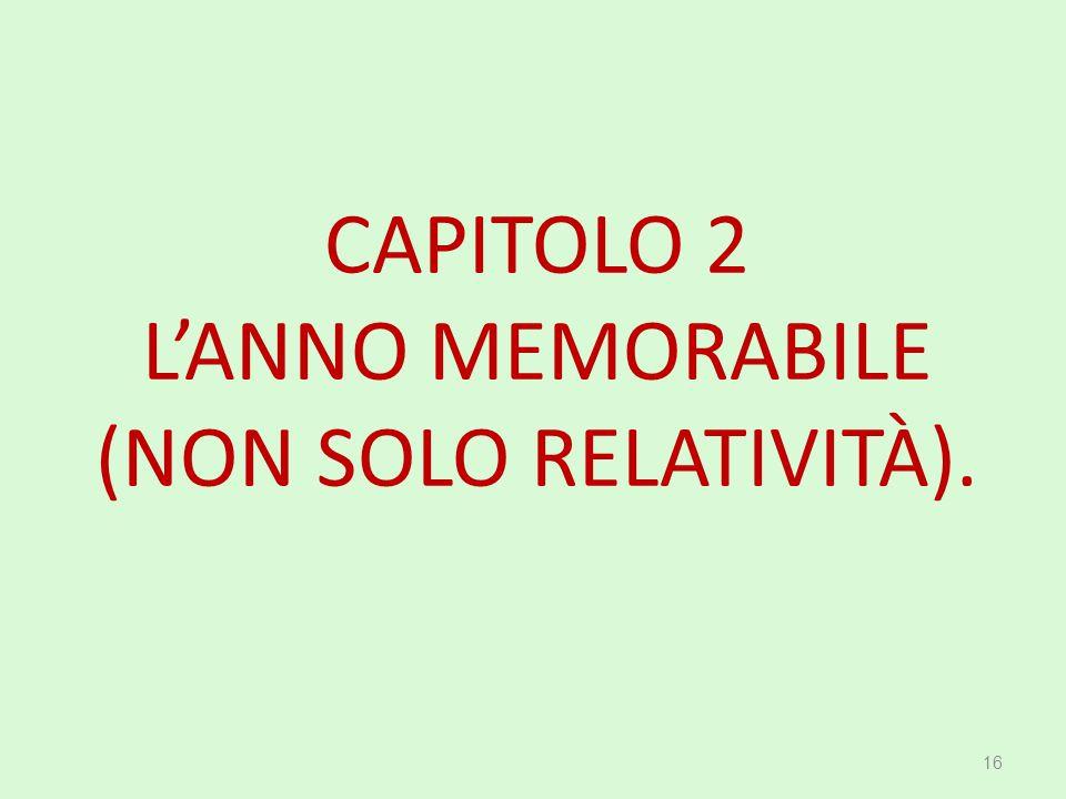 CAPITOLO 2 L'ANNO MEMORABILE (NON SOLO RELATIVITÀ). 16