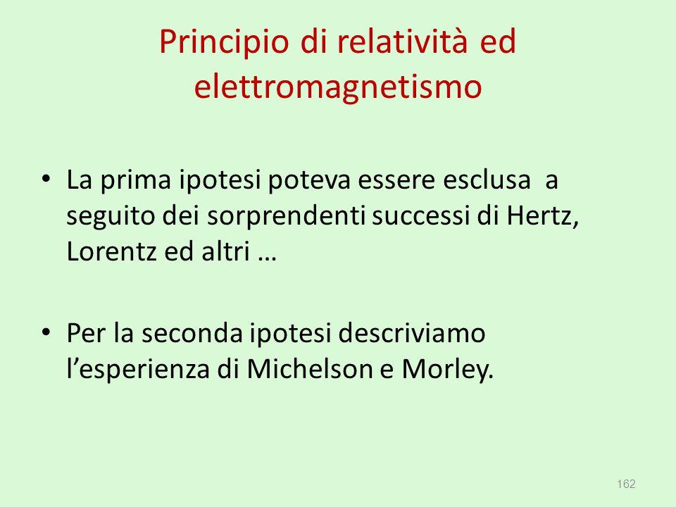Principio di relatività ed elettromagnetismo La prima ipotesi poteva essere esclusa a seguito dei sorprendenti successi di Hertz, Lorentz ed altri … P