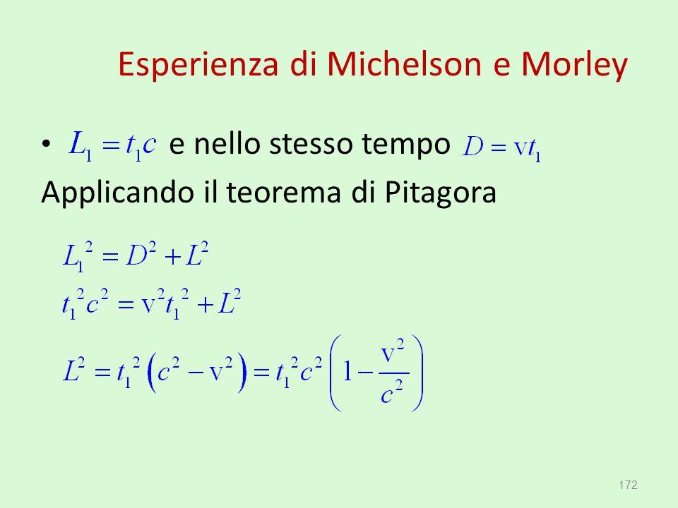 Esperienza di Michelson e Morley e nello stesso tempo Applicando il teorema di Pitagora 172