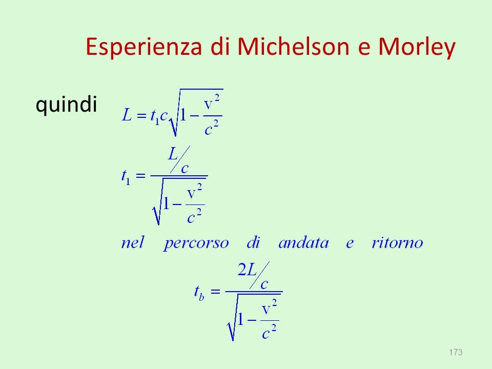 Esperienza di Michelson e Morley quindi 173