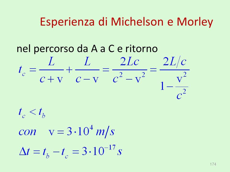 Esperienza di Michelson e Morley nel percorso da A a C e ritorno 174