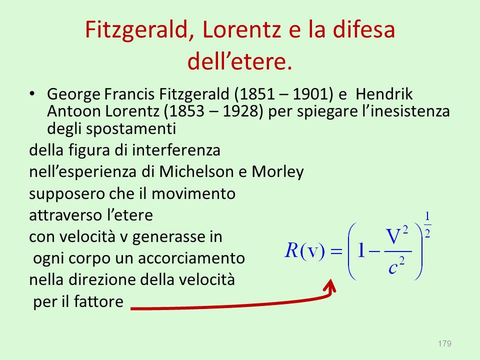 Fitzgerald, Lorentz e la difesa dell'etere. George Francis Fitzgerald (1851 – 1901) e Hendrik Antoon Lorentz (1853 – 1928) per spiegare l'inesistenza