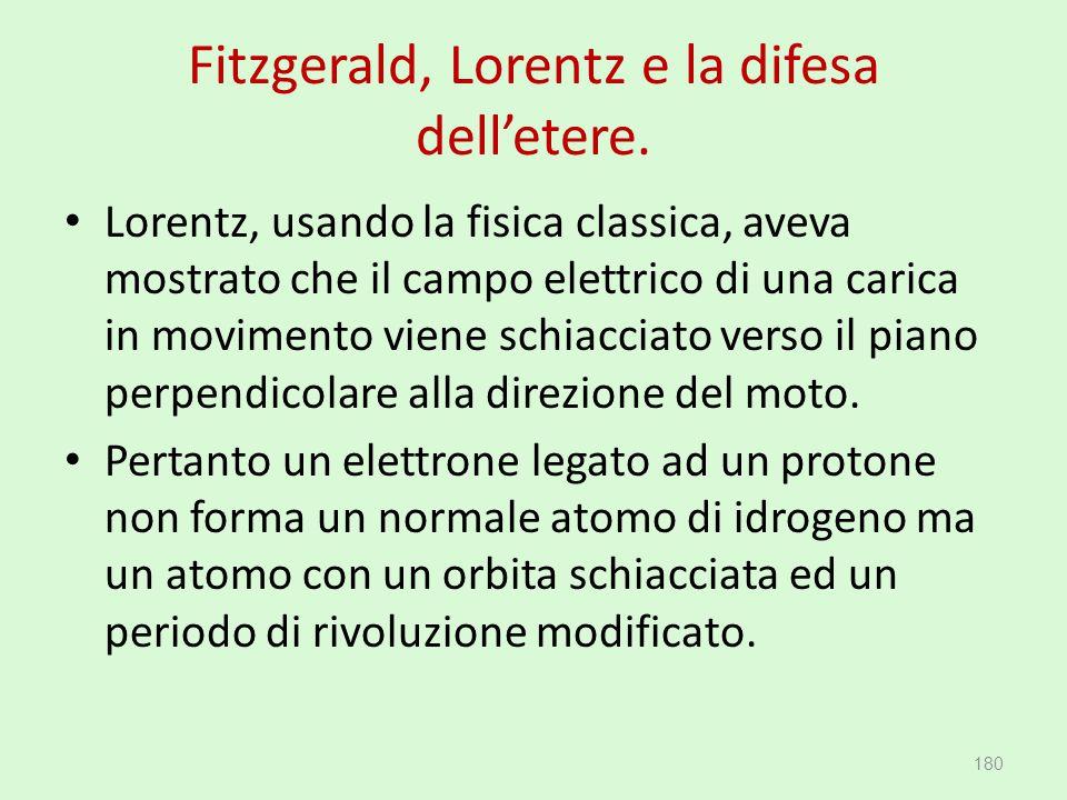 Fitzgerald, Lorentz e la difesa dell'etere. Lorentz, usando la fisica classica, aveva mostrato che il campo elettrico di una carica in movimento viene