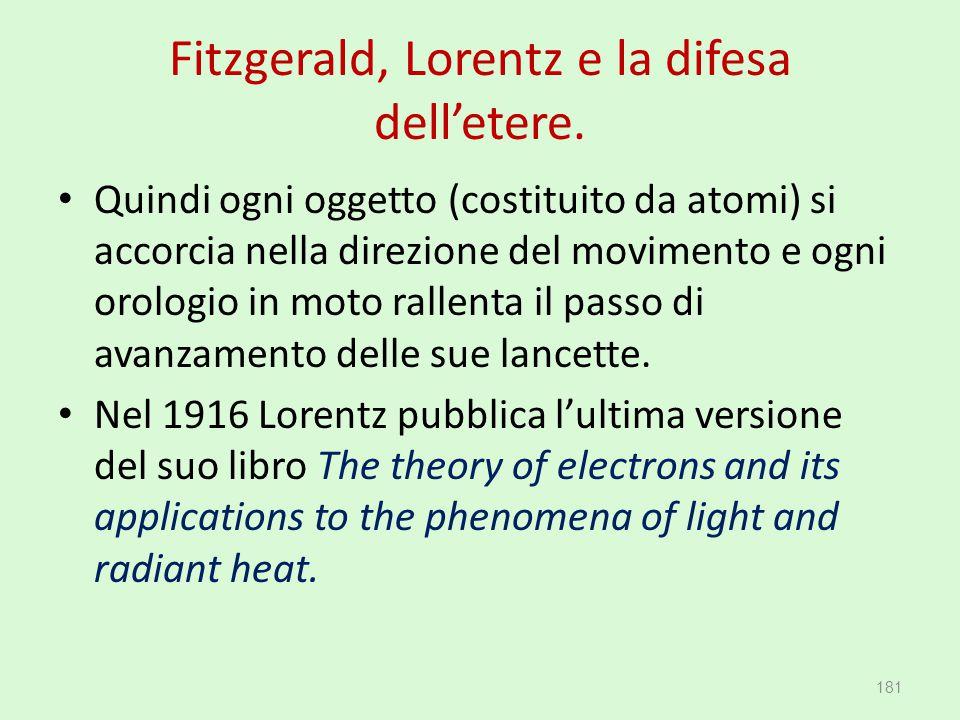 Fitzgerald, Lorentz e la difesa dell'etere. Quindi ogni oggetto (costituito da atomi) si accorcia nella direzione del movimento e ogni orologio in mot