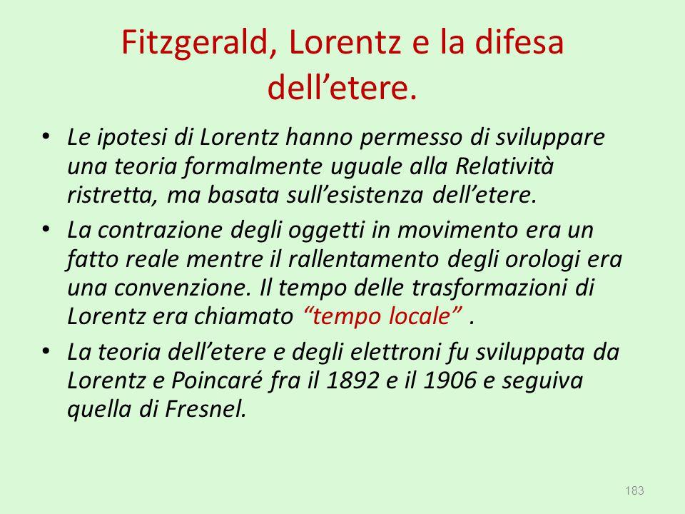 Fitzgerald, Lorentz e la difesa dell'etere. Le ipotesi di Lorentz hanno permesso di sviluppare una teoria formalmente uguale alla Relatività ristretta