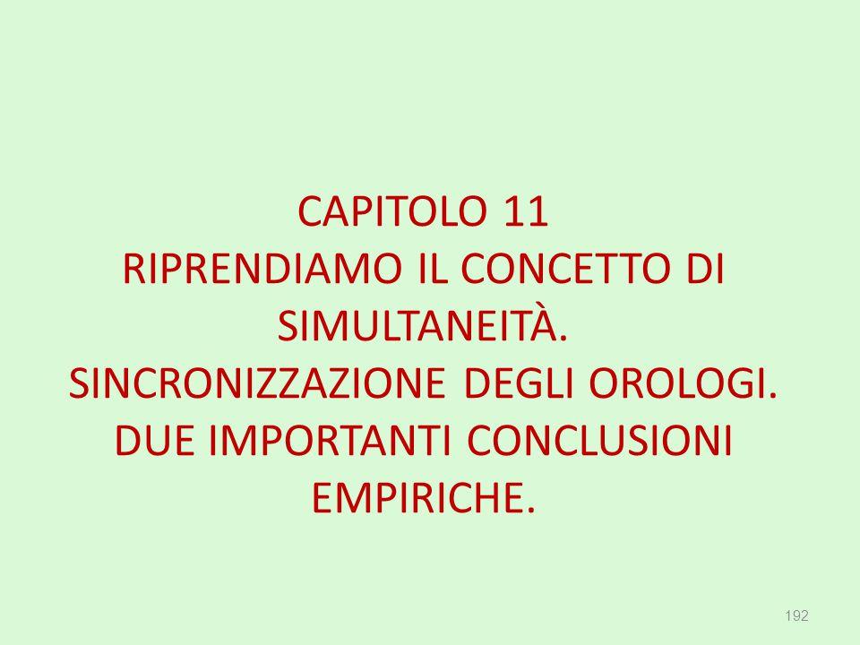 CAPITOLO 11 RIPRENDIAMO IL CONCETTO DI SIMULTANEITÀ. SINCRONIZZAZIONE DEGLI OROLOGI. DUE IMPORTANTI CONCLUSIONI EMPIRICHE. 192