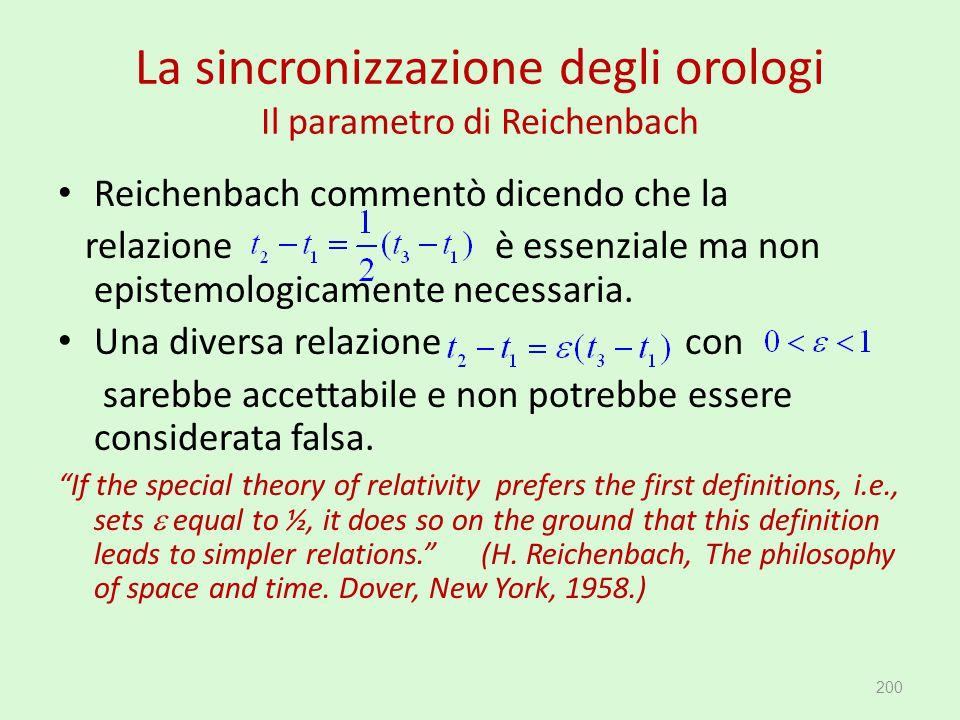 La sincronizzazione degli orologi Il parametro di Reichenbach Reichenbach commentò dicendo che la relazione è essenziale ma non epistemologicamente ne