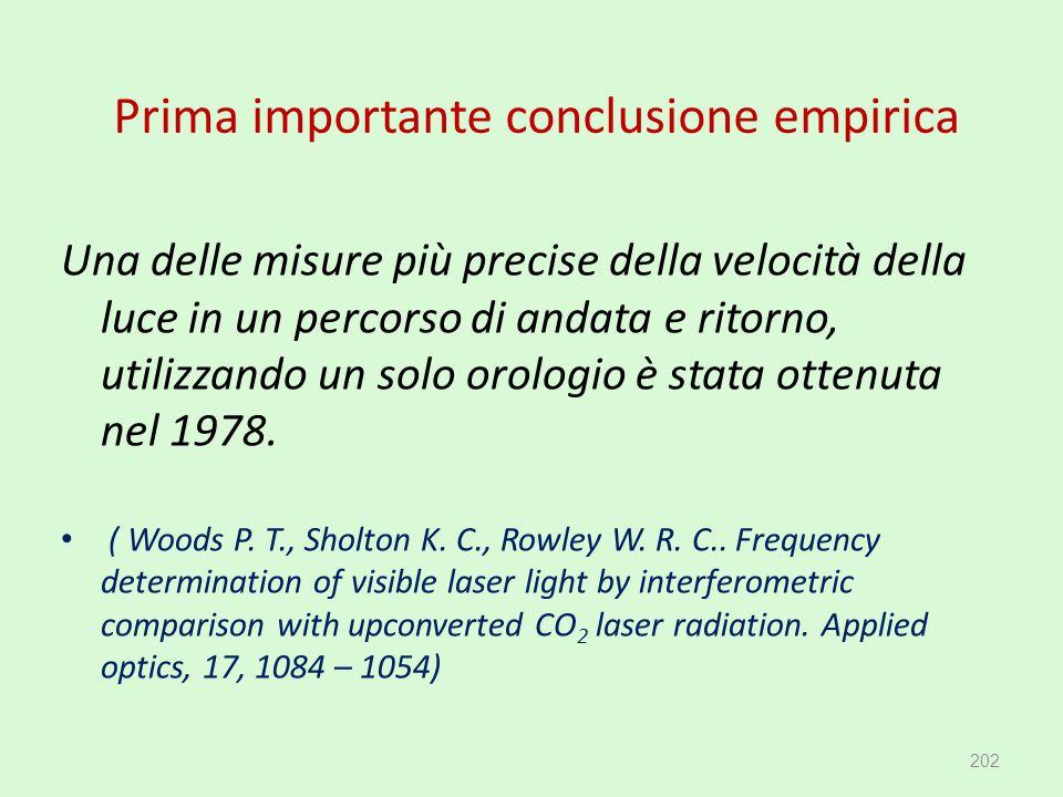 Prima importante conclusione empirica Una delle misure più precise della velocità della luce in un percorso di andata e ritorno, utilizzando un solo o