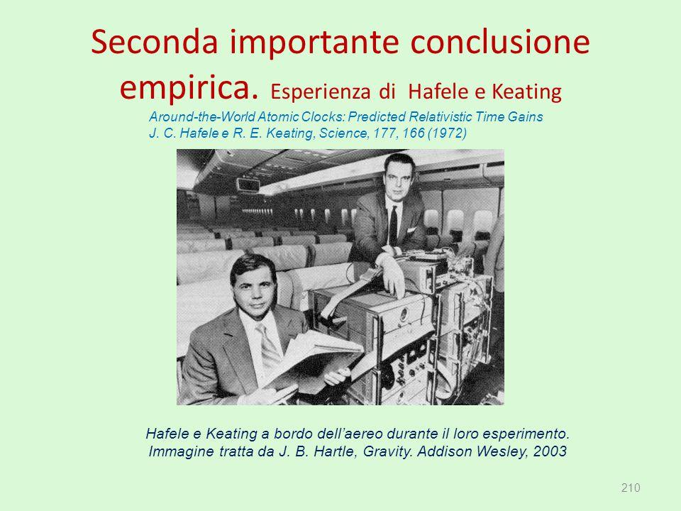 Seconda importante conclusione empirica. Esperienza di Hafele e Keating 210 Hafele e Keating a bordo dell'aereo durante il loro esperimento. Immagine