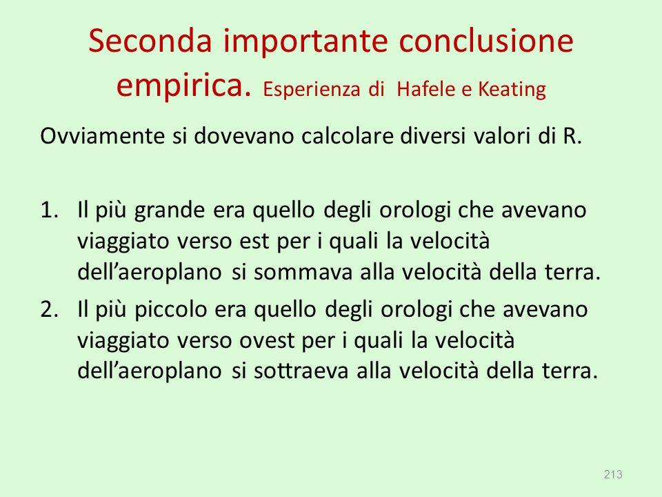 Seconda importante conclusione empirica. Esperienza di Hafele e Keating Ovviamente si dovevano calcolare diversi valori di R. 1.Il più grande era quel