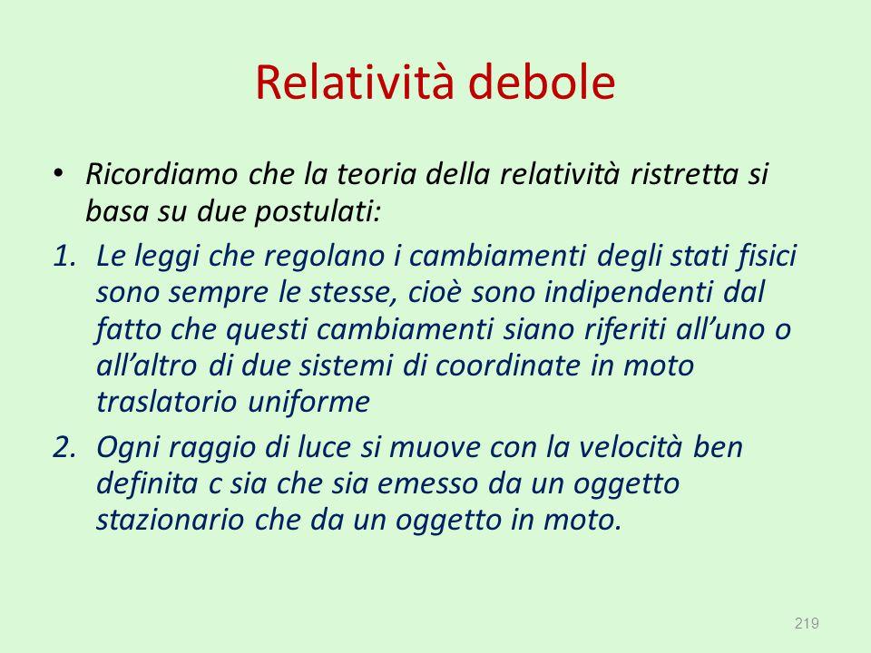 Relatività debole Ricordiamo che la teoria della relatività ristretta si basa su due postulati: 1.Le leggi che regolano i cambiamenti degli stati fisi