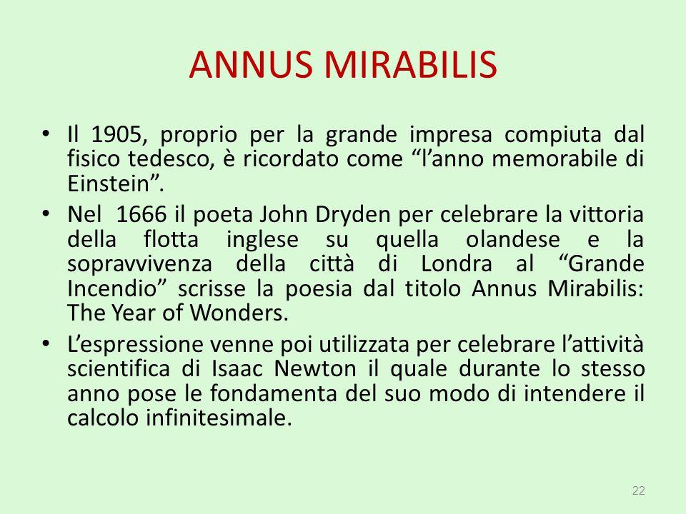 """ANNUS MIRABILIS Il 1905, proprio per la grande impresa compiuta dal fisico tedesco, è ricordato come """"l'anno memorabile di Einstein"""". Nel 1666 il poet"""