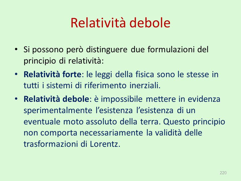 Relatività debole Si possono però distinguere due formulazioni del principio di relatività: Relatività forte: le leggi della fisica sono le stesse in