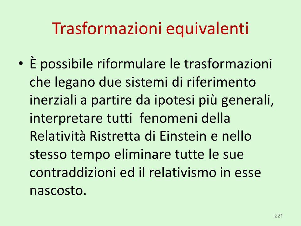 Trasformazioni equivalenti È possibile riformulare le trasformazioni che legano due sistemi di riferimento inerziali a partire da ipotesi più generali