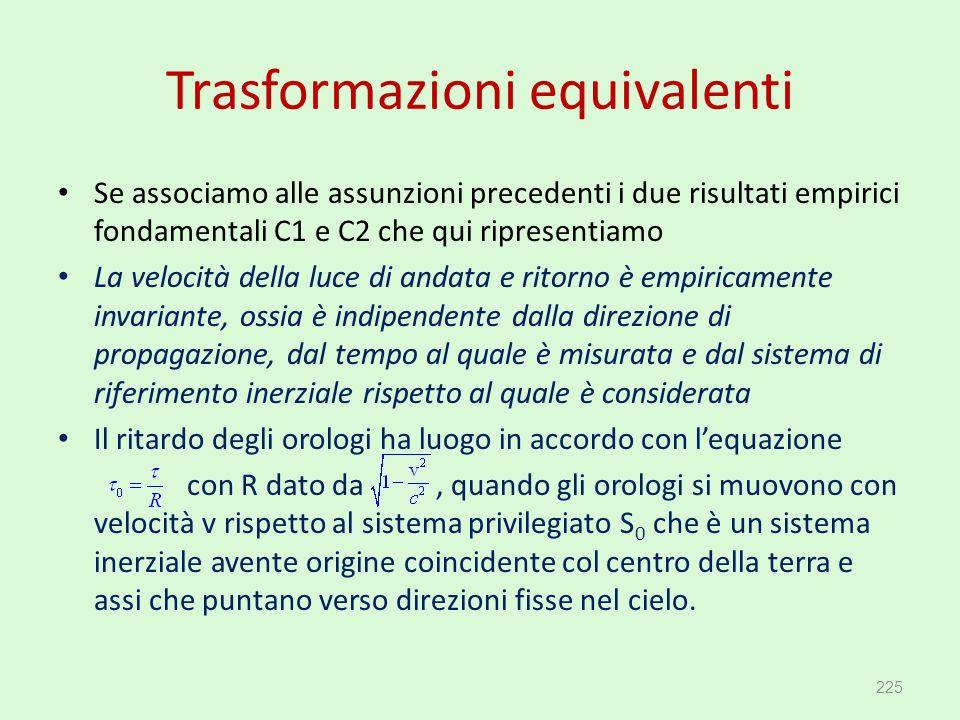 Trasformazioni equivalenti Se associamo alle assunzioni precedenti i due risultati empirici fondamentali C1 e C2 che qui ripresentiamo La velocità del