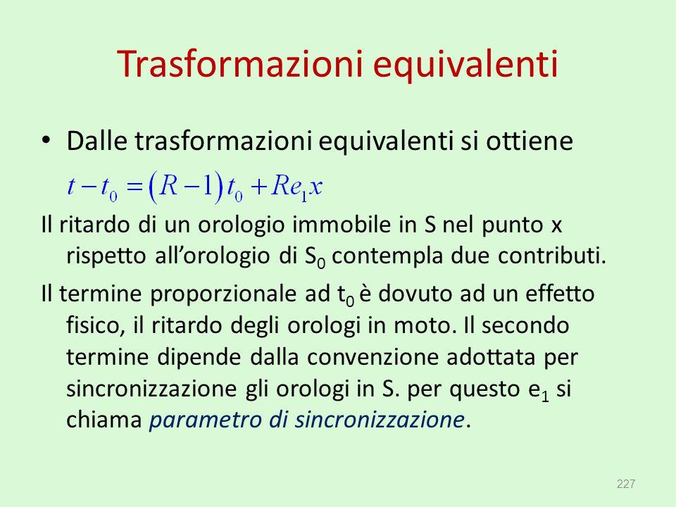 Trasformazioni equivalenti Dalle trasformazioni equivalenti si ottiene Il ritardo di un orologio immobile in S nel punto x rispetto all'orologio di S