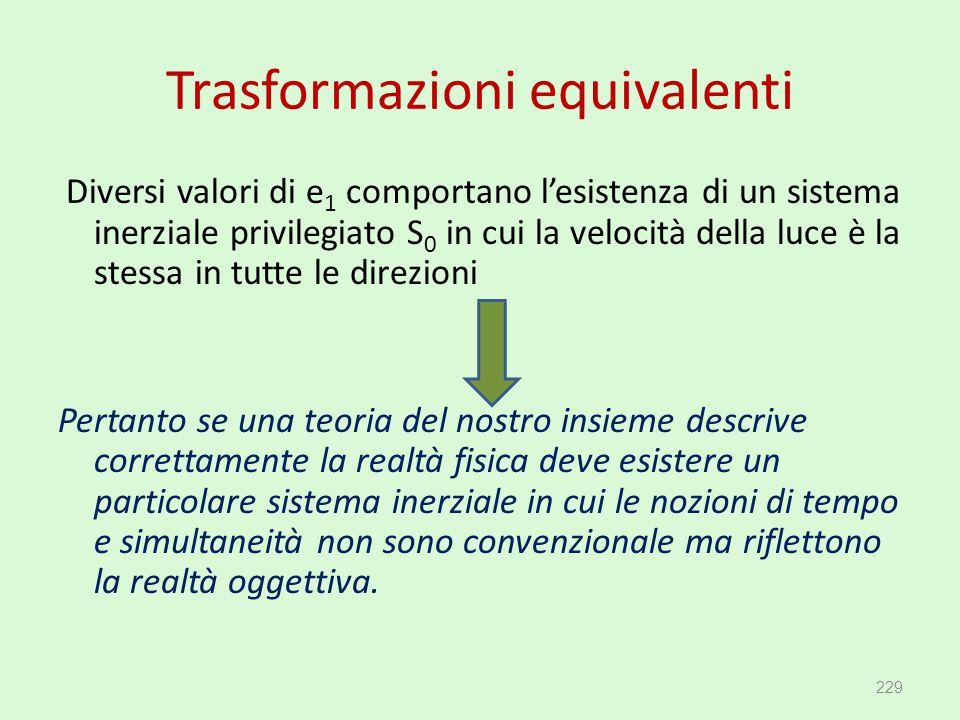 Trasformazioni equivalenti Diversi valori di e 1 comportano l'esistenza di un sistema inerziale privilegiato S 0 in cui la velocità della luce è la st