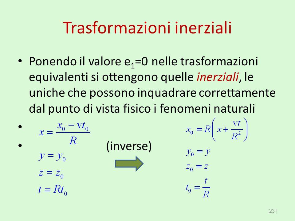 Trasformazioni inerziali Ponendo il valore e 1 =0 nelle trasformazioni equivalenti si ottengono quelle inerziali, le uniche che possono inquadrare cor