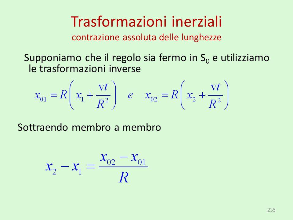 Trasformazioni inerziali contrazione assoluta delle lunghezze Supponiamo che il regolo sia fermo in S 0 e utilizziamo le trasformazioni inverse Sottra