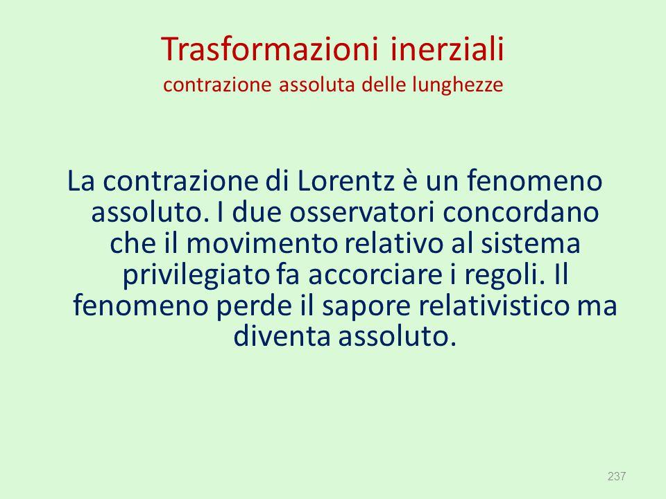 Trasformazioni inerziali contrazione assoluta delle lunghezze La contrazione di Lorentz è un fenomeno assoluto. I due osservatori concordano che il mo