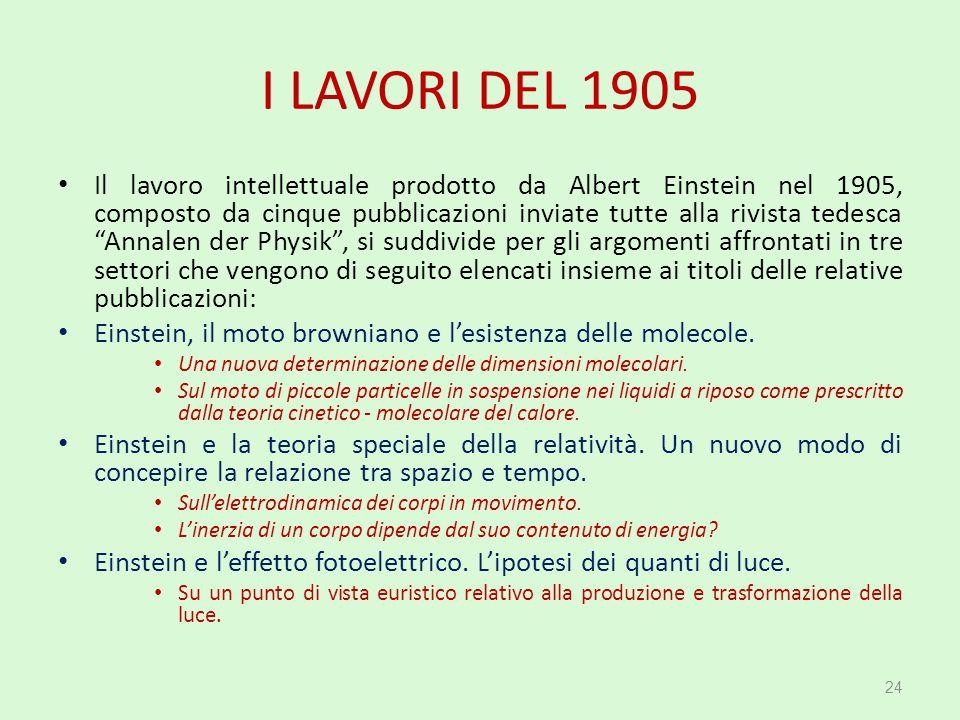 """I LAVORI DEL 1905 Il lavoro intellettuale prodotto da Albert Einstein nel 1905, composto da cinque pubblicazioni inviate tutte alla rivista tedesca """"A"""