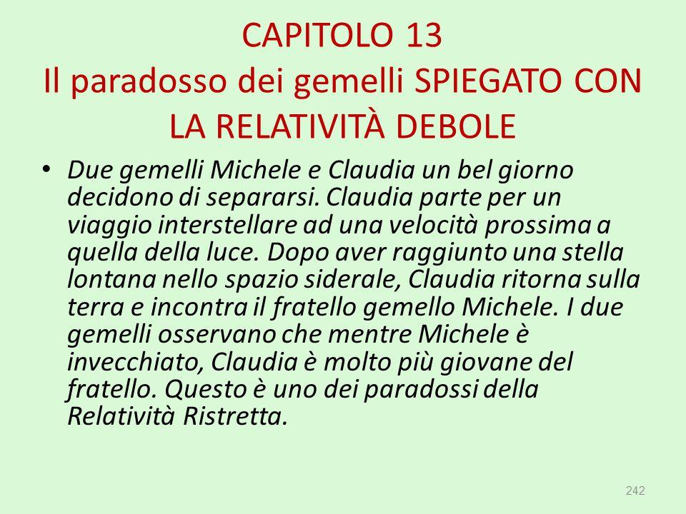 CAPITOLO 13 Il paradosso dei gemelli SPIEGATO CON LA RELATIVITÀ DEBOLE 242 Due gemelli Michele e Claudia un bel giorno decidono di separarsi. Claudia