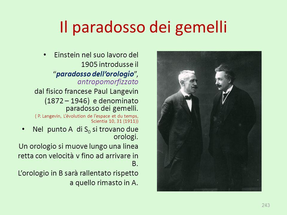 """Il paradosso dei gemelli Einstein nel suo lavoro del 1905 introdusse il """"paradosso dell'orologio"""", antropomorfizzato dal fisico francese Paul Langevin"""
