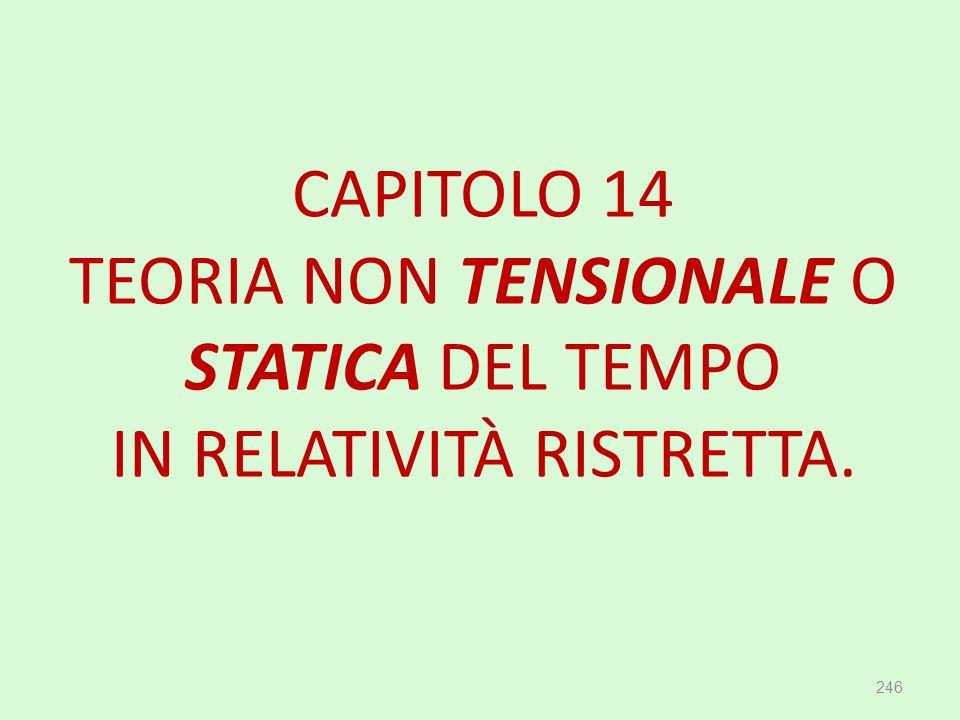 CAPITOLO 14 TEORIA NON TENSIONALE O STATICA DEL TEMPO IN RELATIVITÀ RISTRETTA. 246