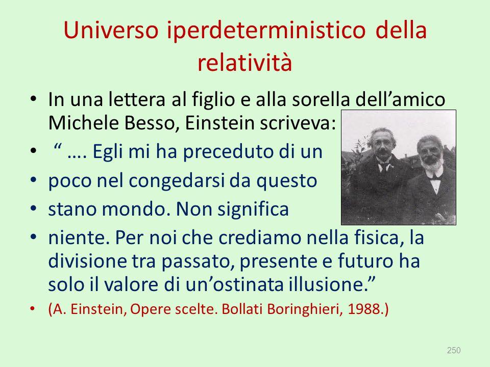"""Universo iperdeterministico della relatività In una lettera al figlio e alla sorella dell'amico Michele Besso, Einstein scriveva: """" …. Egli mi ha prec"""