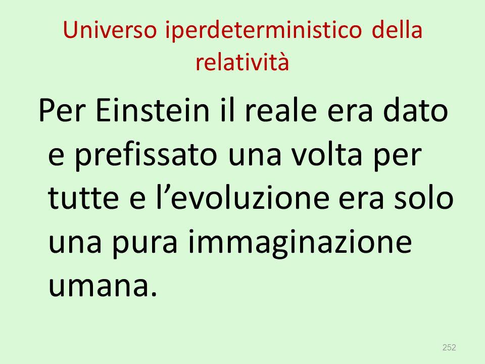 Universo iperdeterministico della relatività Per Einstein il reale era dato e prefissato una volta per tutte e l'evoluzione era solo una pura immagina