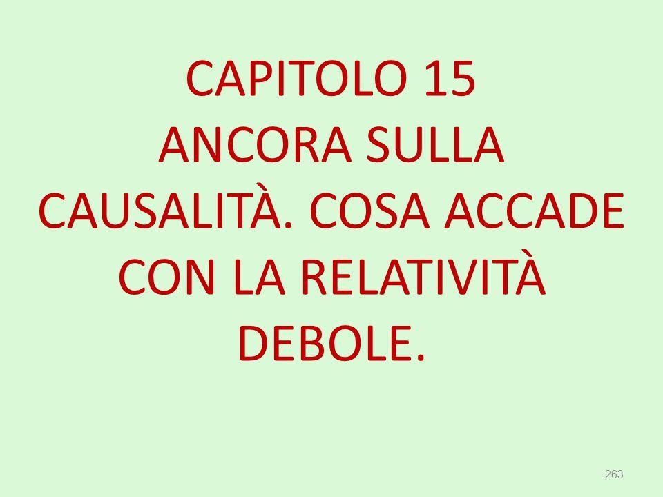 CAPITOLO 15 ANCORA SULLA CAUSALITÀ. COSA ACCADE CON LA RELATIVITÀ DEBOLE. 263