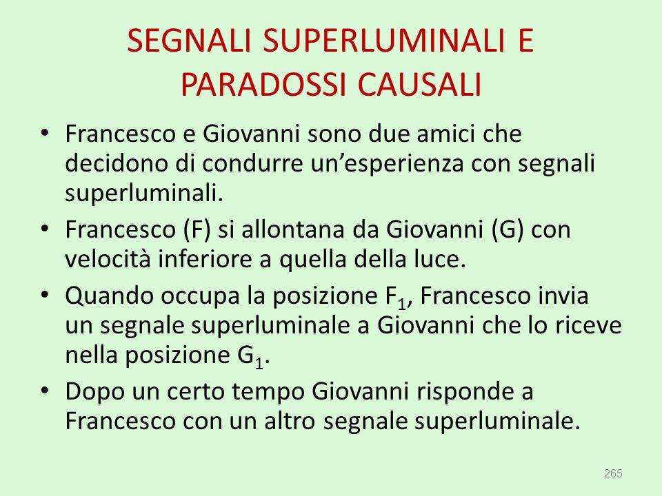 SEGNALI SUPERLUMINALI E PARADOSSI CAUSALI 265 Francesco e Giovanni sono due amici che decidono di condurre un'esperienza con segnali superluminali. Fr