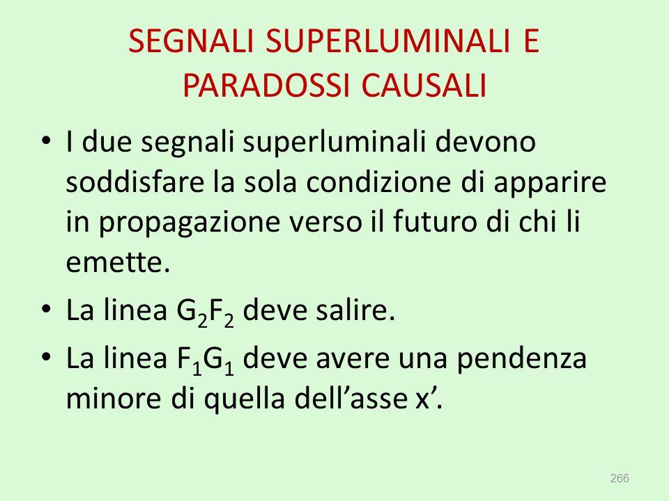 SEGNALI SUPERLUMINALI E PARADOSSI CAUSALI 266 I due segnali superluminali devono soddisfare la sola condizione di apparire in propagazione verso il fu