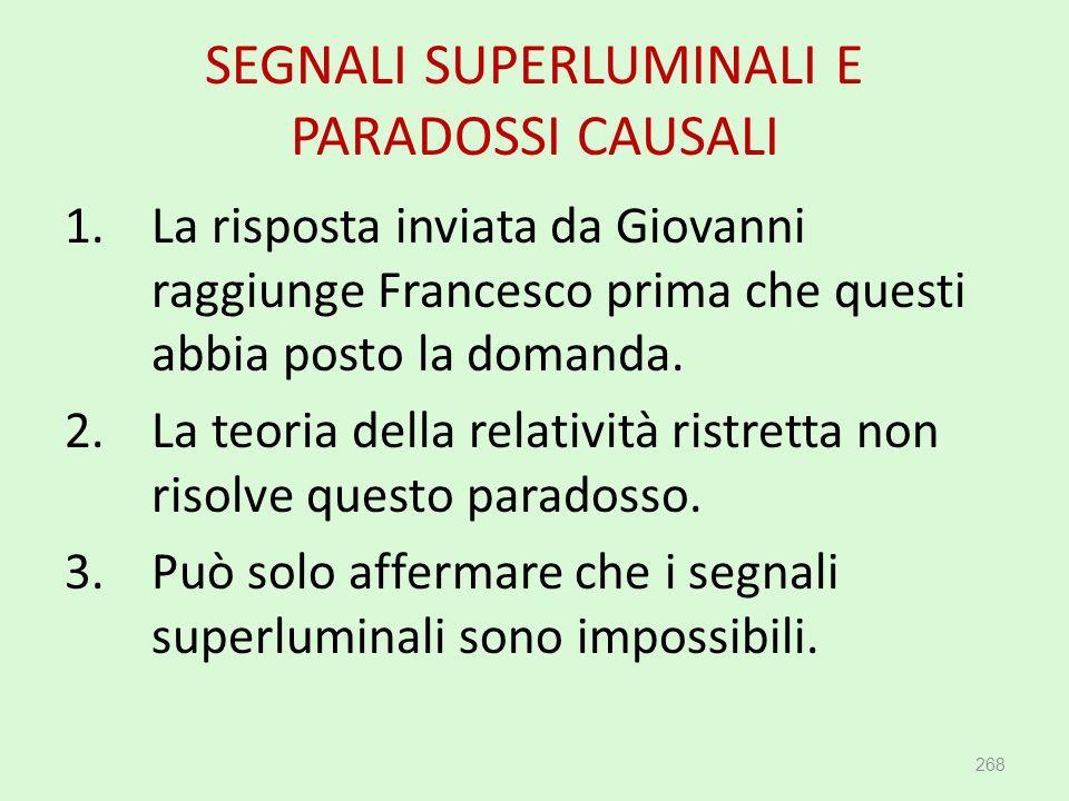 SEGNALI SUPERLUMINALI E PARADOSSI CAUSALI 268 1.La risposta inviata da Giovanni raggiunge Francesco prima che questi abbia posto la domanda. 2.La teor