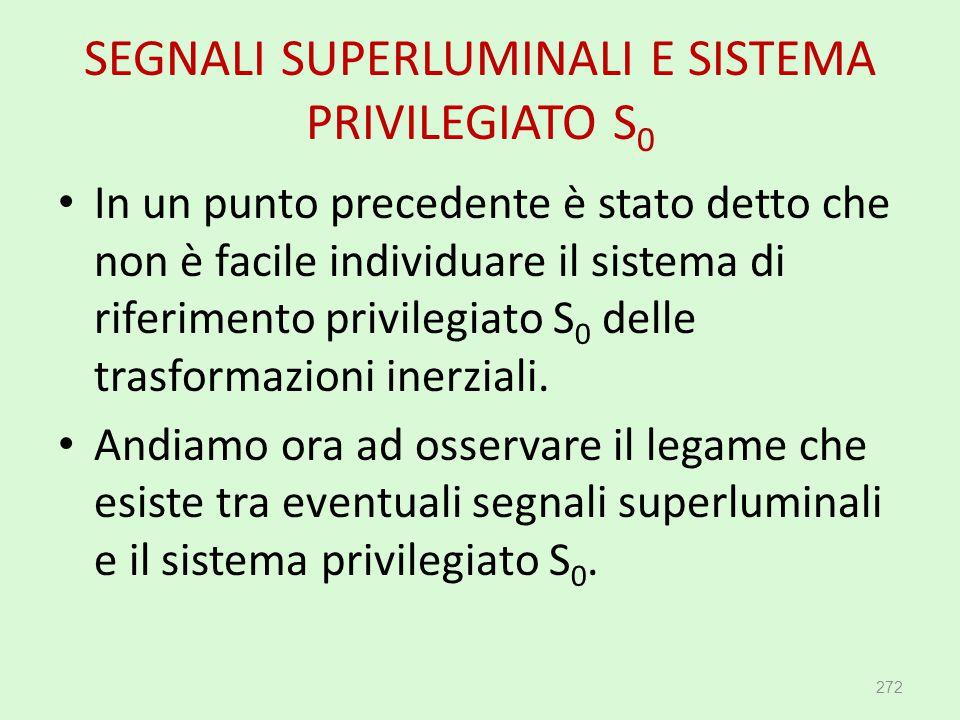 SEGNALI SUPERLUMINALI E SISTEMA PRIVILEGIATO S 0 272 In un punto precedente è stato detto che non è facile individuare il sistema di riferimento privi