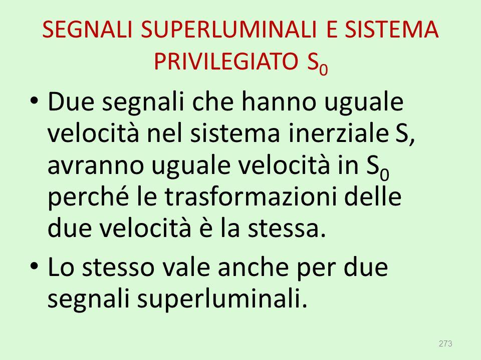 SEGNALI SUPERLUMINALI E SISTEMA PRIVILEGIATO S 0 273 Due segnali che hanno uguale velocità nel sistema inerziale S, avranno uguale velocità in S 0 per