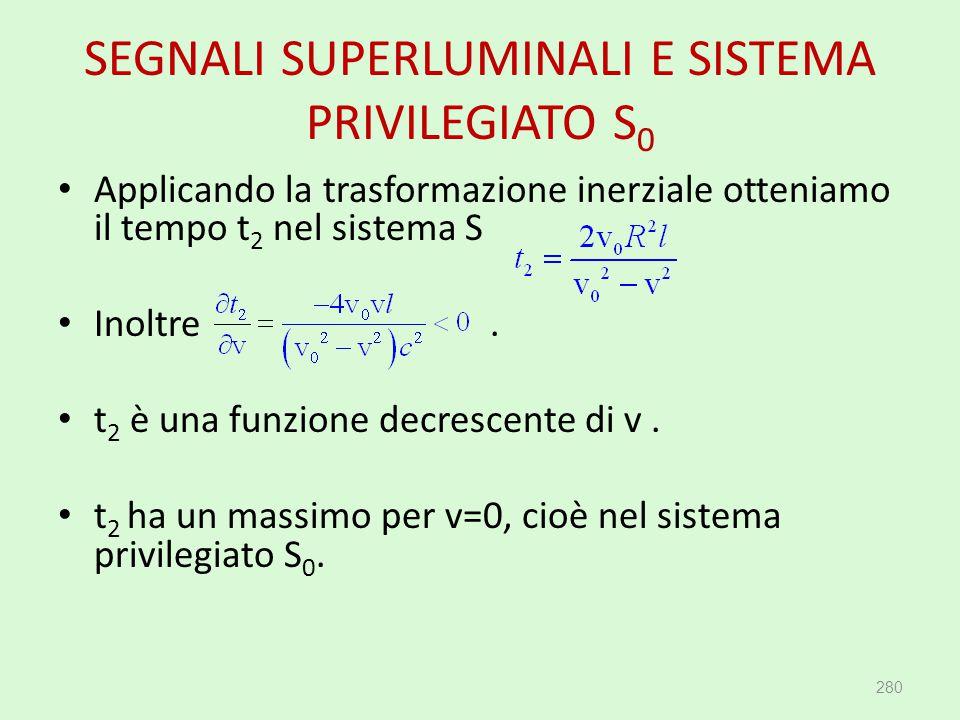 SEGNALI SUPERLUMINALI E SISTEMA PRIVILEGIATO S 0 280 Applicando la trasformazione inerziale otteniamo il tempo t 2 nel sistema S Inoltre. t 2 è una fu