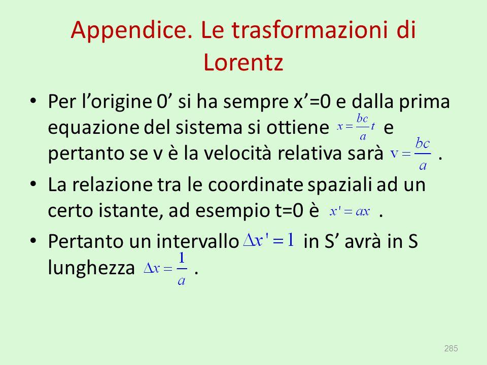 Appendice. Le trasformazioni di Lorentz Per l'origine 0' si ha sempre x'=0 e dalla prima equazione del sistema si ottiene e pertanto se v è la velocit