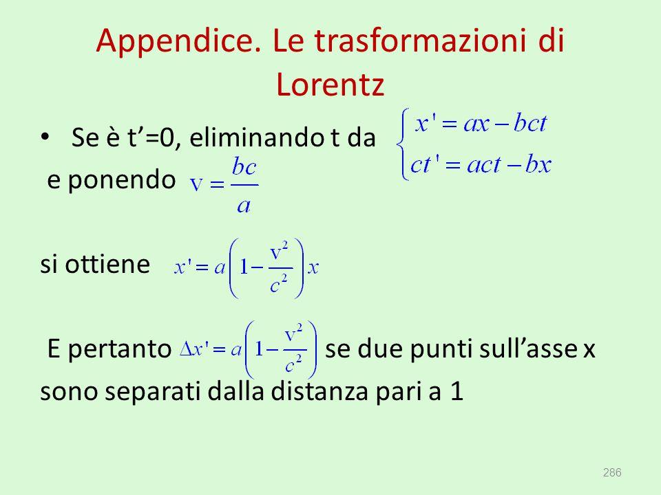 Appendice. Le trasformazioni di Lorentz Se è t'=0, eliminando t da e ponendo si ottiene E pertanto se due punti sull'asse x sono separati dalla distan