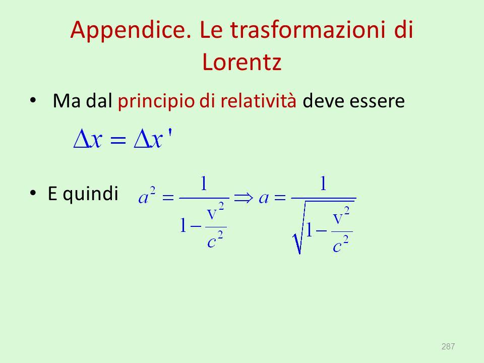 Appendice. Le trasformazioni di Lorentz Ma dal principio di relatività deve essere E quindi 287