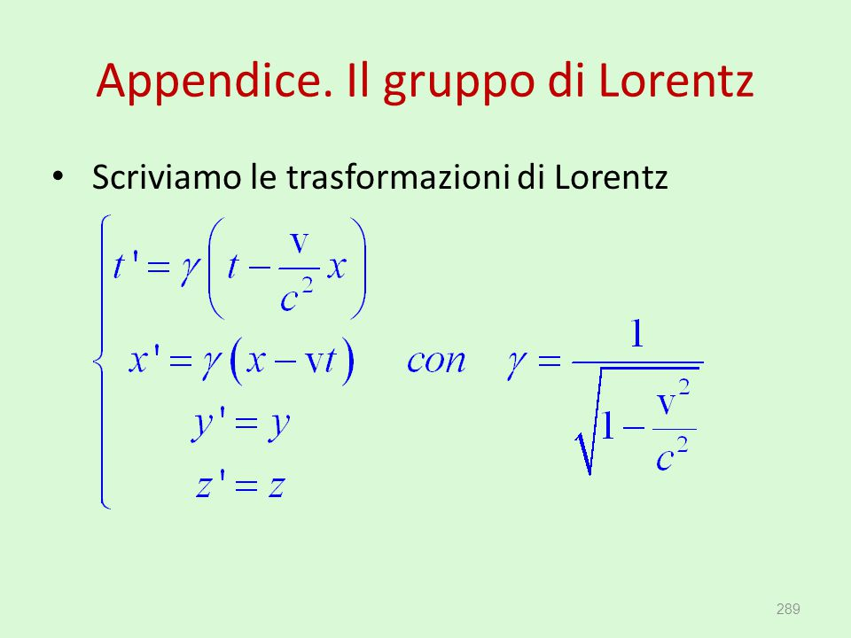 Appendice. Il gruppo di Lorentz Scriviamo le trasformazioni di Lorentz 289