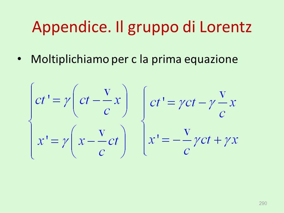 Appendice. Il gruppo di Lorentz Moltiplichiamo per c la prima equazione 290