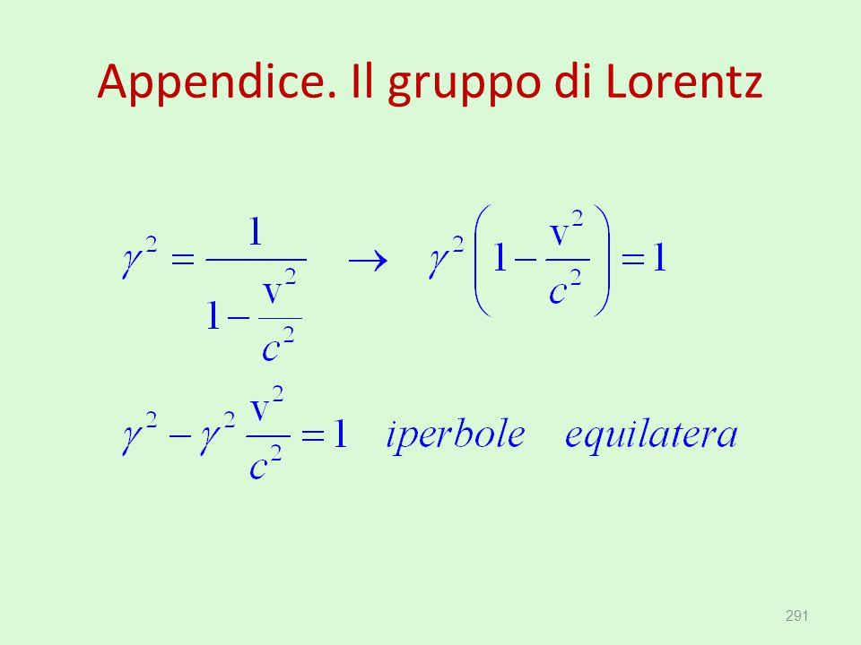 Appendice. Il gruppo di Lorentz 291