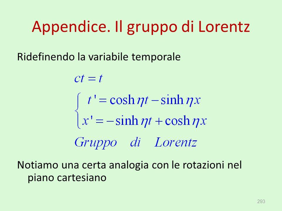 Appendice. Il gruppo di Lorentz Ridefinendo la variabile temporale Notiamo una certa analogia con le rotazioni nel piano cartesiano 293