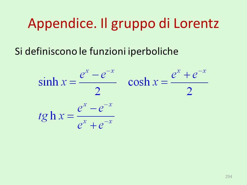 Appendice. Il gruppo di Lorentz Si definiscono le funzioni iperboliche 294