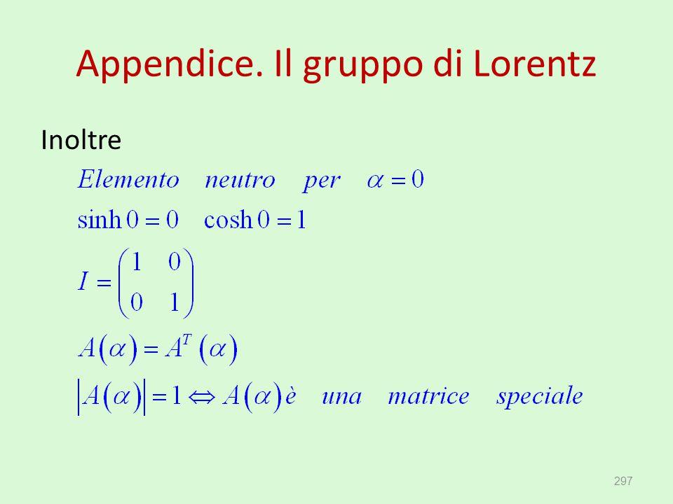 Appendice. Il gruppo di Lorentz Inoltre 297
