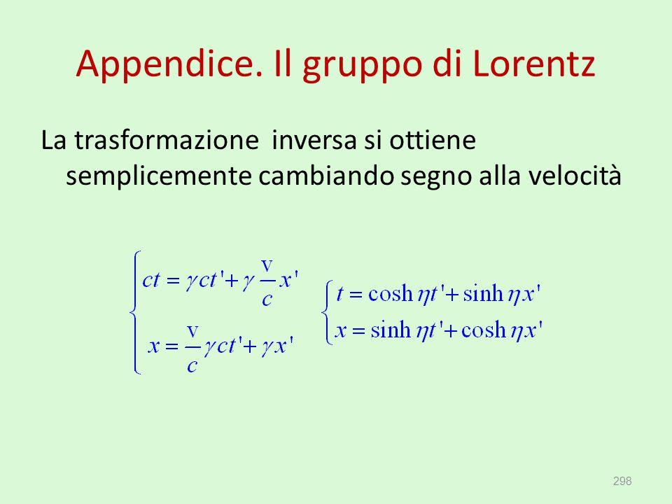 Appendice. Il gruppo di Lorentz La trasformazione inversa si ottiene semplicemente cambiando segno alla velocità 298